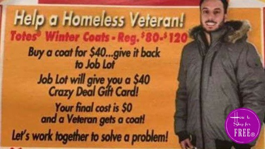 Crazy Deal~ Donate FREE Coat for a Homeless Veteran