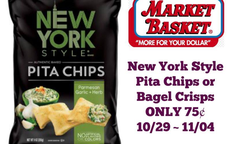 New York Style Pita Chips or Bagel Crisps ONLY 75¢ at Market Basket 10/29 ~ 11/04!