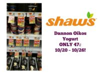 Dannon Oikos Yogurt ONLY 47¢ at Shaw's 10/20 ~ 10/26!
