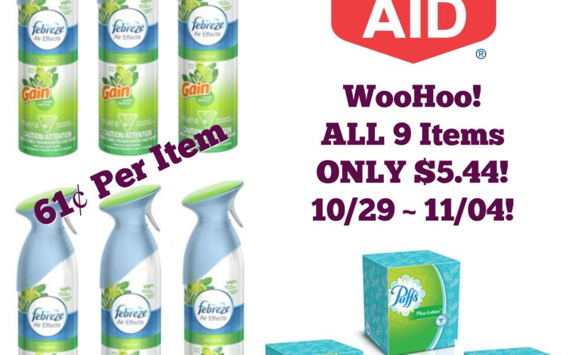 WooHoo! ALL 9 Items ONLY 61¢ each at Rite Aid 10/29 ~ 11/04!