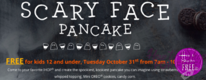 Free! Scary Face Pancake For Kids At IHOP