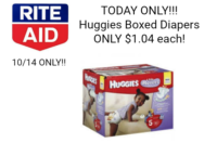 WOW DEAL!! Huggies Box ONLY $1.04 at Rite Aid – 10/14 ONLY!!!