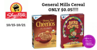 ONLY $0.05 for General Mills Cereal at Shop Rite (10/15-10/21)