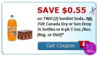 **HOT**NEW Printable Coupon** .55/2 Sunkist, A&W, 7up, Canada Dry or Sun Drop Soda!
