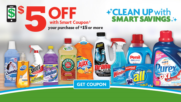 CLEANING UP with a $5/$15 Smart Coupon!