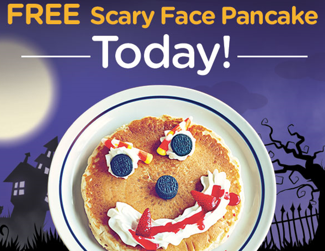 FREE Scary Face Pancake at IHOP today!