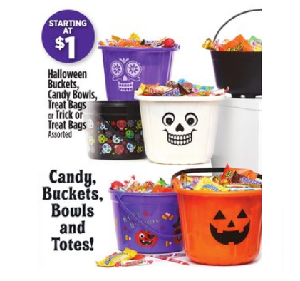 Buy 1 Get 1 Free Halloween Treat Bags or Pails at Dollar General