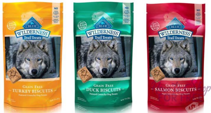 RUN DEAL! 3-Pack of BLUE Wilderness Grain Free Biscuits Crunchy Dog Treatsfor just $6.62