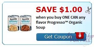 **HOT NEW Printable Coupon** $1.00/1 Progresso Organic Soup