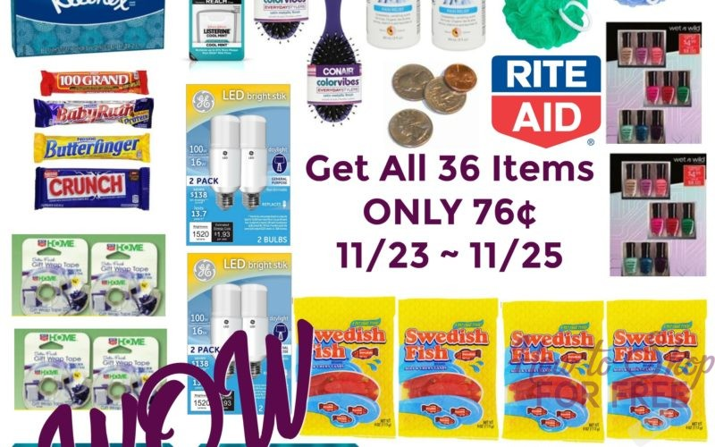 WOW! Get ALL 36 Items ONLY 76¢ at Rite Aid 11/23 ~ 11/25!