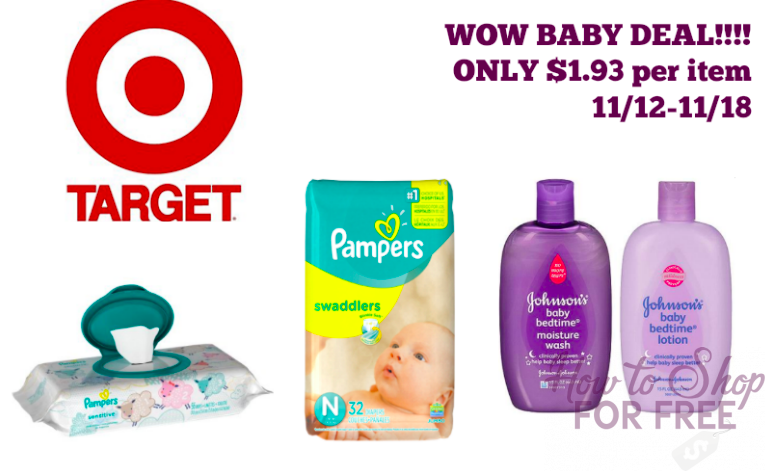 WOW DEAL! Pampers and Johnson Baby Products ONLY $1.93 each!