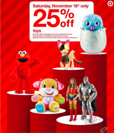 ONE DAY ONLY!!! 25% off ALL Toys at Target – TODAY 11/18!!!!