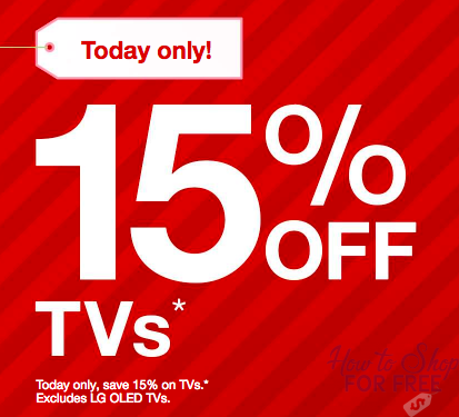 TODAY ONLY!! 11/19 – 15% off ALL TV's at Target!