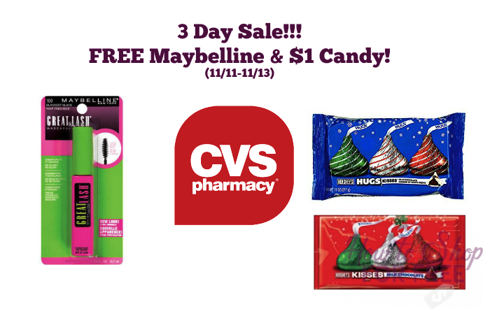 CVS 3 Day Sale 11/11-11/13 – FREE Maybelline and $1 Hershey Candy Bags!