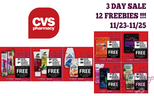 OVER $29 in EBC's on 12 FREEBIES in CVS Black Friday 3 Day Sale (11/23-11/25)