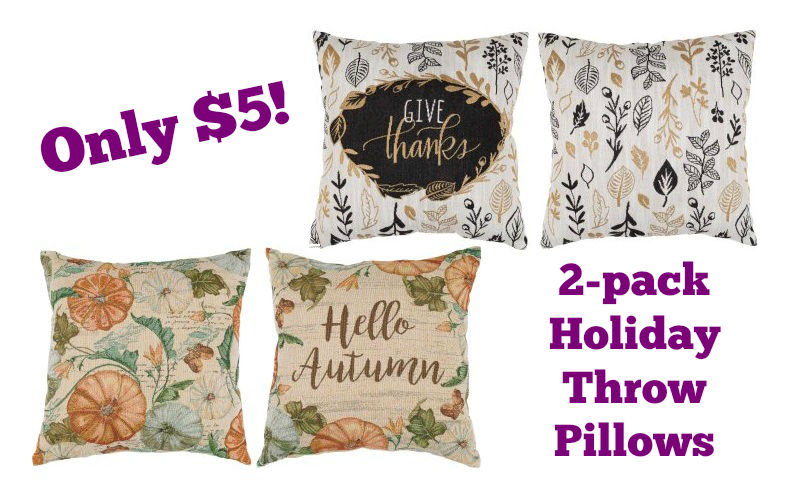 2pk. Autumn Throw Pillows for ONLY $5.00!!