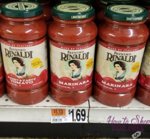 Francesco Rinaldi Pasta Sauce for $.69!