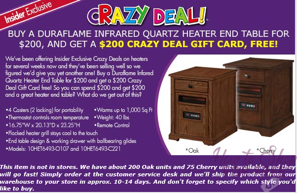 FREE Duraflame Heater End Table.. Yes, FREE! (thru 11/08)