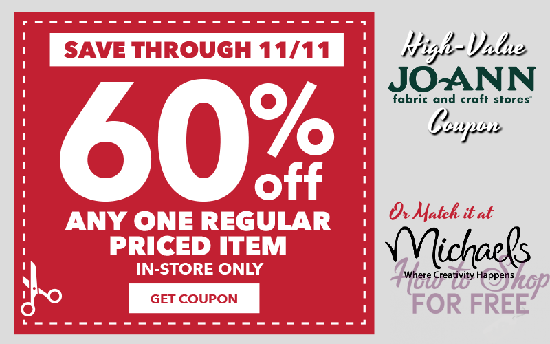 60% off JOANN Coupon!! (Can Use at Michael's Too!) 11/9-11/11