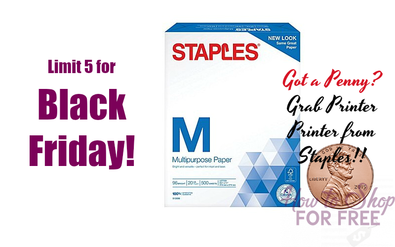 PENNY PAPER Deal at Staples for Black Friday! (Limit 5!!!)