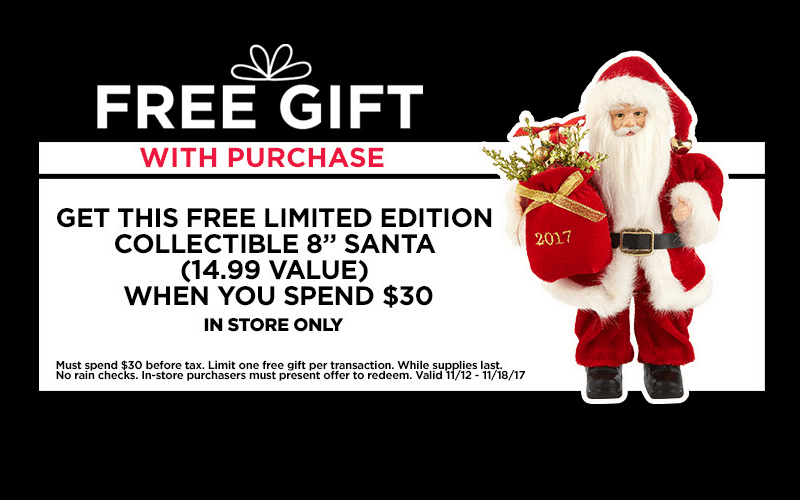 FREE 8″ Collectible Santa at Michaels!