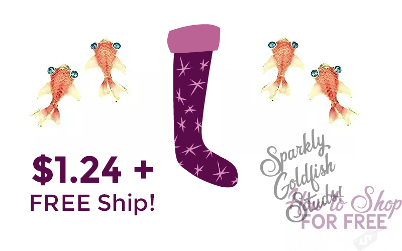 Sparkly Goldfish Stud Earrings~ $1.24 SHIPPED!