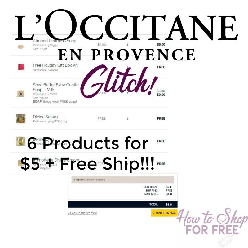 L'Occitane GLITCH! 6 Products + FREE GIFT BOX for $5 + FREE