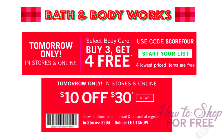 BUY 3, GET 4 FREE + $10 off $30 Purchase at Bath & Body Works! 12/15 ONLY