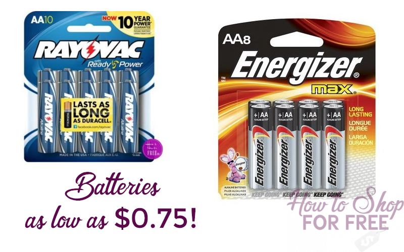 Top Brand Batteries as low as $0.75/pack!