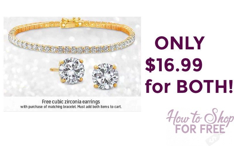 WOW! Buy Gold Plated Tennis Bracelet and Get FREE Matching Earrings!
