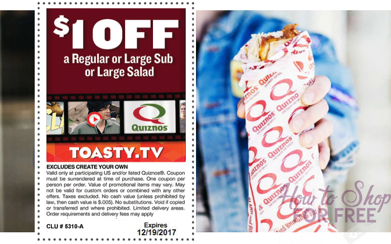$1 OFF Quiznos Subs or Salad Coupon! Save on Lunch!