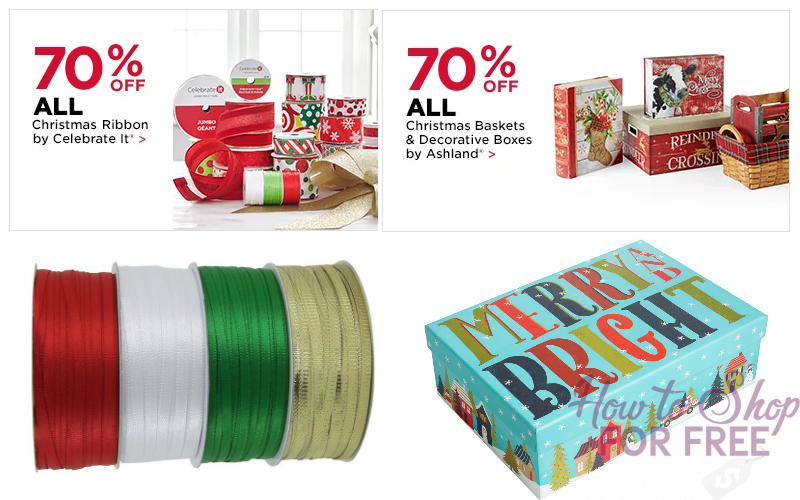 70% OFF Christmas Baskets/Ribbon + EXTRA 25% OFF w/Coupon!