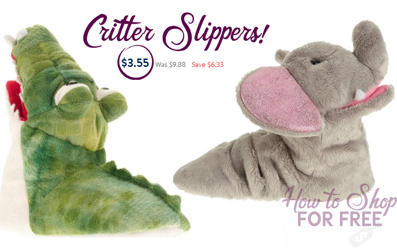 Kids Critter Slippers ONLY $3.55! (Orig/$9.88) Free Pickup!