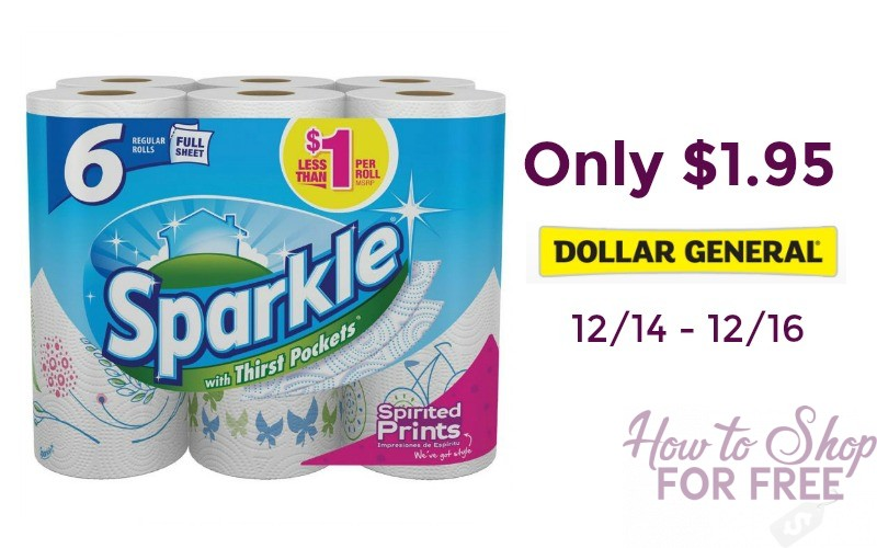 Sparkle Paper Towels 6 Pack Only $1.95 at Dollar General