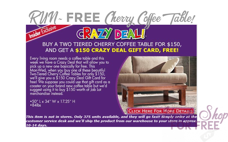 FREE Cherry Coffee Table~ One Week Only!!