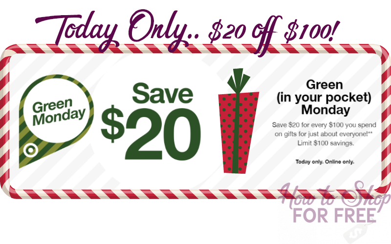Green Monday~ $20 OFF $100 at Target, Today Only!! **HOT**