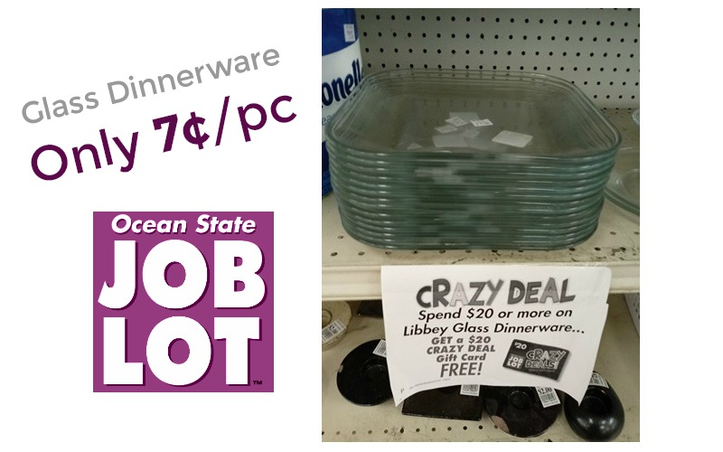 Glass Dinner ONLY 7¢ per piece at Job Lot!