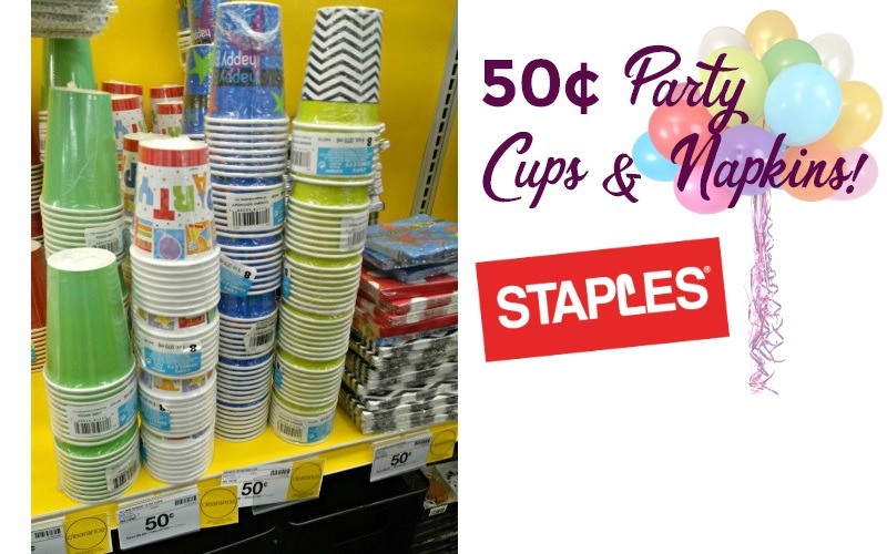 50¢ Party Cups & Napkins at Staples~ Stock Up!!