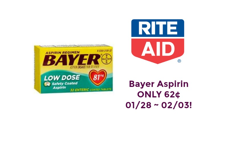 Bayer Aspirin ONLY 62¢ at Rite Aid 01/28 ~ 02/03!