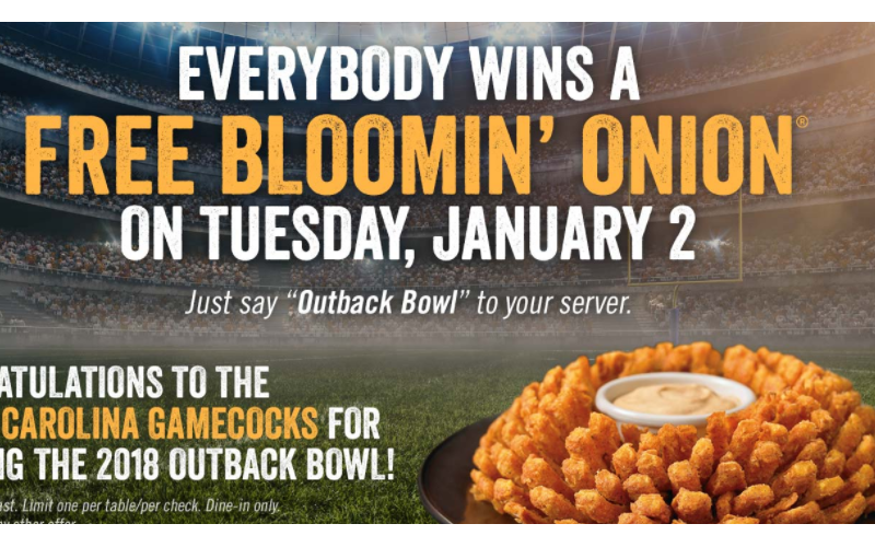 FREE Bloomin' Onion~ Jan. 2 ONLY!