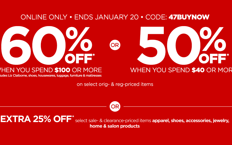Up to 60% OFF at JCPenney, thru 1/20! WOWZA!!