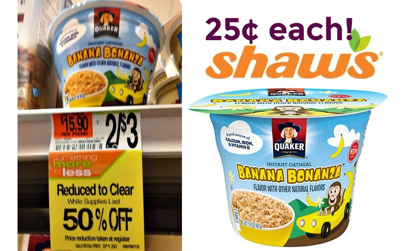 25¢ Quaker Instant Oatmeal Cups!! STOCK UP