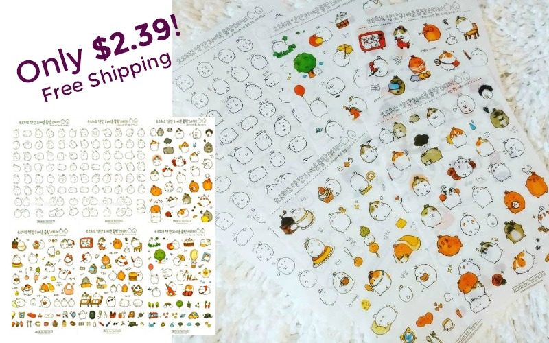 6 Sheets of Cute Character Stickers~ $2.39 + FREE Ship!