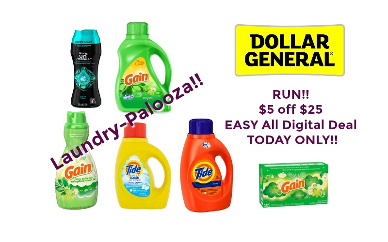 RUN!! $5 off $25 EASY All Digital Deal at Dollar General ~ TODAY ONLY!!