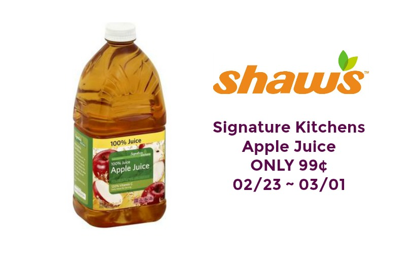 Signature Kitchens Apple Juice ONLY 99¢ at Shaw's 02/23 ~ 03/01!!