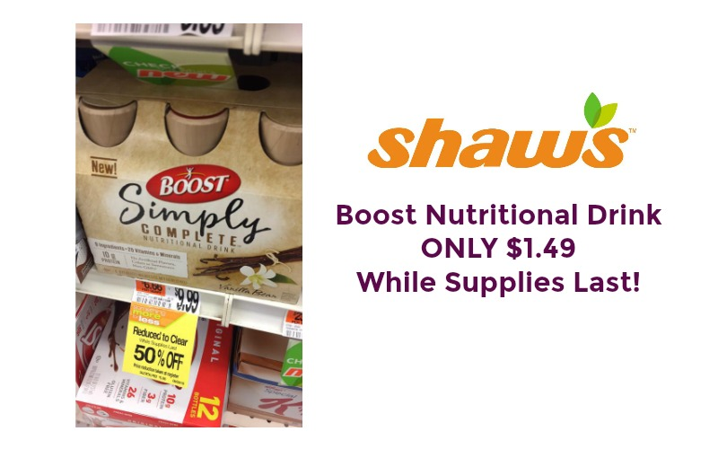 Boost Nutritional Drink ONLY $1.49 at Shaw's While Supplies Last!!