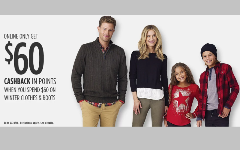 Get $60 worth of Winter Clothing for FREE after Cashback at Sears!