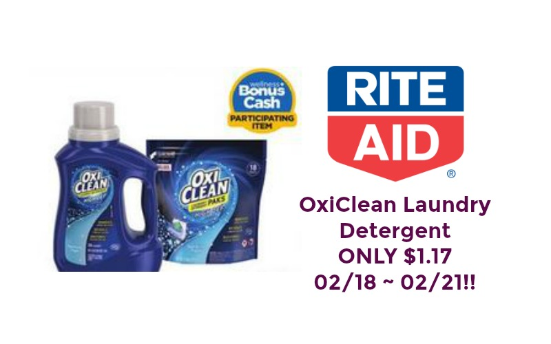 OxiClean Laundry Detergent ONLY $1.17 at Rite Aid 02/18 ~ 02/21!