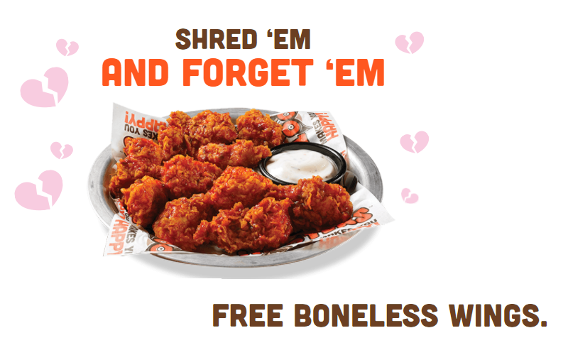 Shred Your Ex and get FREE WINGS at Hooters!!!