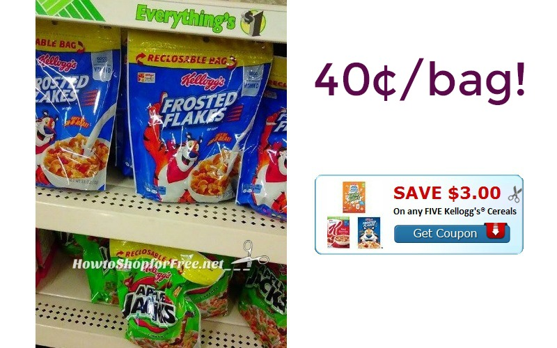 Kellogg's Cereal ONLY 40¢/bag at Dollar Tree!!